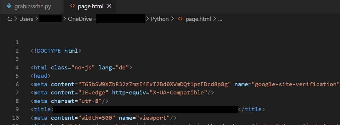 Beautiful Soup: Fehler beim Schreiben von HTML in eine Datei